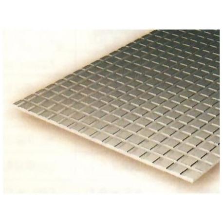 Plancha pavimentos 1.00 profundidad y 2.10 x 2.10 cuadrado, 15 x 30 mm. De Estireno. Marca Evergreen. Ref: 4502