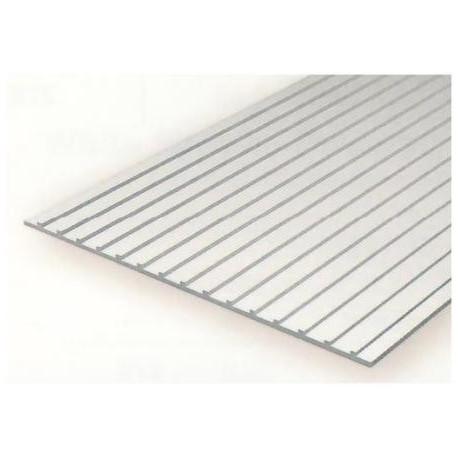 Plancha techo metalico 1.00 profundidad y 6.30 distancia entre surcos, 15 x 30 mm. De Estireno. Marca Evergreen. Ref: 4522.