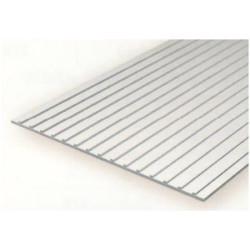 Plancha techo metalico 1.00 profundidad y 9.50 distancia entre surcos, 15 x 30 mm. De Estireno. Marca Evergreen. Ref: 4523.