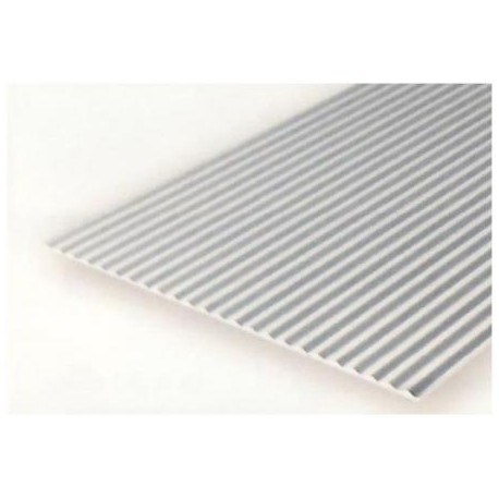 Plancha metal corrugado 1.00 profundidad y 1.50 distancia entre surcos, 15 x 30 mm. De Estireno. Marca Evergreen. Ref: 4527.
