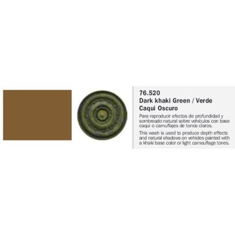 Model Wash, Lavado Verde Caqui Oscuro. Bote 35 ml. Marca Vallejo. Ref: 76.520.