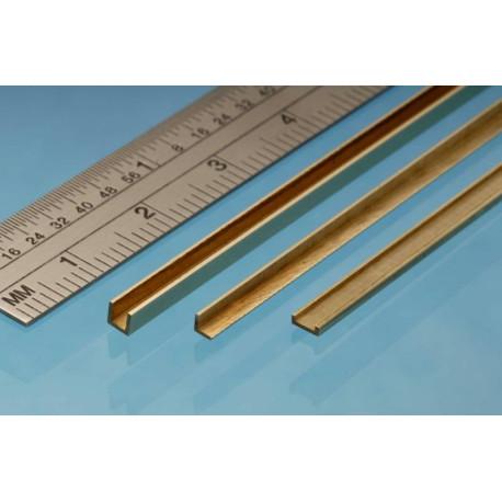 """Perfil en """" U """" de Latón 3.00 x 1.00 mm, 1 unidad. Marca Albion Alloys. Ref: 45991."""