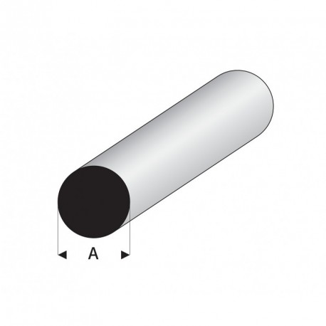 Varilla Maciza Blanca de Estireno, Diametro 1,25 mm, 330 mm. Marca Maquett. Ref: 400-51/3.