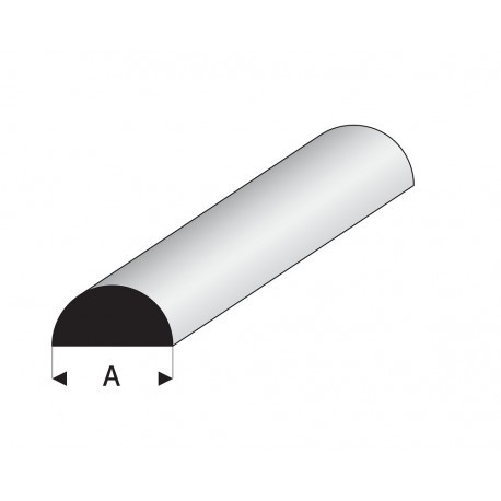 Perfil Media Caña Maciza Blanca de Estireno, Diámetro 2,5 mm, 330 mm. Marca Mauett. Ref: 401-55/3.