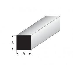 Perfil Cuadrado Macizo  de Estireno. Lado: 4.5 mm, largo: 330 mm. Marca Maquett. Ref: 407-58/3.