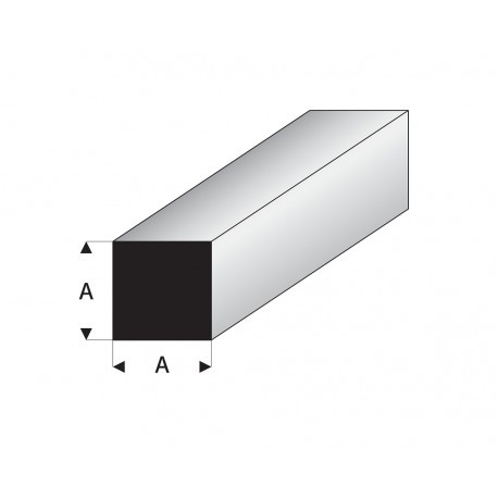 Perfil Cuadrado Macizo  de Estireno. Lado: 6 mm, largo: 330 mm. Marca Maquett. Ref: 407-60/3.