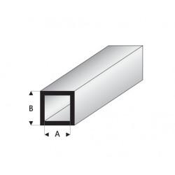Perfil Cuadrado Hueco de Estireno. A: 6 mm, B: 8 mm, L: 330 mm. Marca Maquett. Ref: 420-57/3.