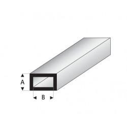 Perfil Rectangular Hueco de Estireno. A: 4 mm, B: 8 mm. Marca Maquett. Ref: 421-53/3.