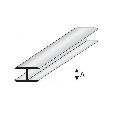 """Perfil Flat Conector, en """" H """"de Estireno. A: 1 mm. Marca Maquet. Ref:  450-51/3."""