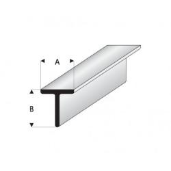 """Perfíl en """" T """" de Estireno Blanco, A: 3 mm, B: 3 mm, L: 330 mm. Marca Maquett. Ref: 413-54/3."""