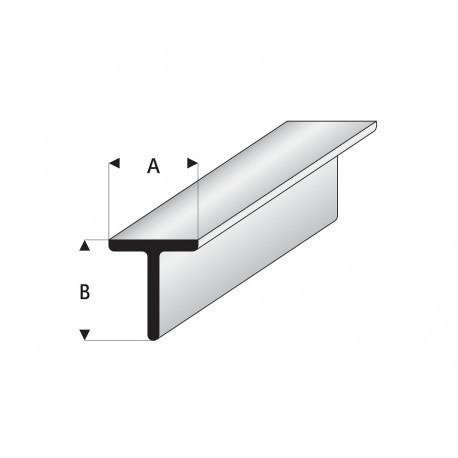 """Perfíl en """" T """" de Estireno Blanco, A: 7 mm, B: 7 mm, L: 330 mm. Marca Maquett. Ref: 413-59/3."""