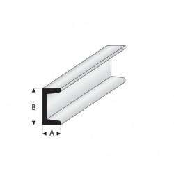"""Perfíl en """" U """" de Estireno Blanco, A: 0.75 mm, B: 1.5 mm, L: 330 mm. Marca Maquett. Ref: 412-51/3."""