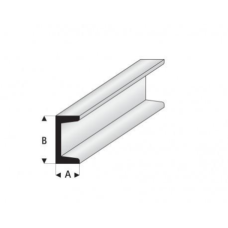 """Perfíl en """" U """" de Estireno Blanco, A: 1 mm, B: 2 mm, L: 330 mm. Marca Maquett. Ref: 412-52/3."""