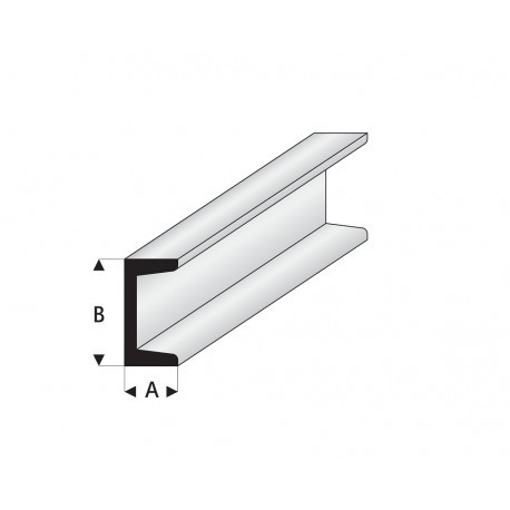 """Perfíl en """" U """" de Estireno Blanco, A: 2 mm, B: 4 mm, L: 330 mm. Marca Maquett. Ref: 412-55/3."""