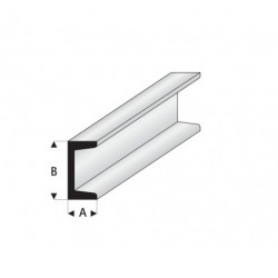 """Perfíl en """" U """" de Estireno Blanco, A: 5 mm, B: 10 mm, L: 330 mm. Marca Maquett. Ref: 412-59/3."""