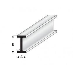 """Perfíl en """" I """" de Estireno Blanco, A: 1.25 mm, B: 2.50 mm, L: 330 mm. Marca Maquett. Ref: 414-49/3."""