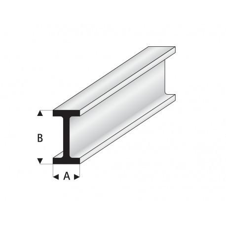 """Perfíl en """" I """" de Estireno Blanco, A: 1.75 mm, B: 3.50 mm, L: 330 mm. Marca Maquett. Ref: 414-50/3."""