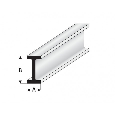 """Perfíl en """" I """" de Estireno Blanco, A: 5 mm, B: 10 mm, L: 330 mm. Marca Maquett. Ref: 414-57/3."""