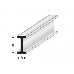 """Perfíl en """" I """" de Estireno Blanco, A: 9 mm, B: 18 mm, L: 330 mm. Marca Maquett. Ref: 414-61/3."""