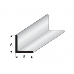 """Perfíl en """" L """" de Estireno Blanco, A: 1.5 mm, B: 1.5 mm, L: 330 mm. Marca Maquett. Ref: 416-51/3."""