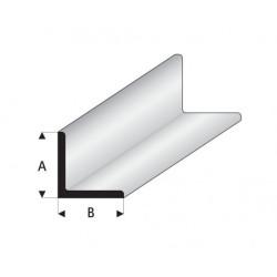 """Perfíl en """" L """" de Estireno Blanco, A: 3.5 mm, B: 3.5 mm, L: 330 mm. Marca Maquett. Ref: 416-55/3."""