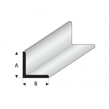 """rfíl en """" L """" de Estireno Blanco, A: 3.5 mm, B: 3.5 mm, L: 330 mm. Marca Maquett. Ref: 416-55/3."""