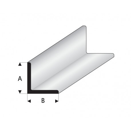 """Perfíl en """" L """" de Estireno Blanco, A: 5 mm, B: 5 mm, L: 330 mm. Marca Maquett. Ref: 416-58/3."""