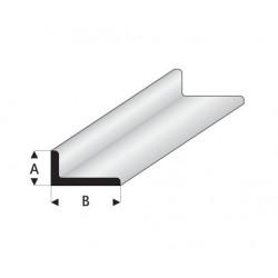 """Perfíl en """" L """" de Estireno Blanco, A: 2 mm, B: 4 mm, L: 330 mm. Marca Maquett. Ref: 417-52/3."""