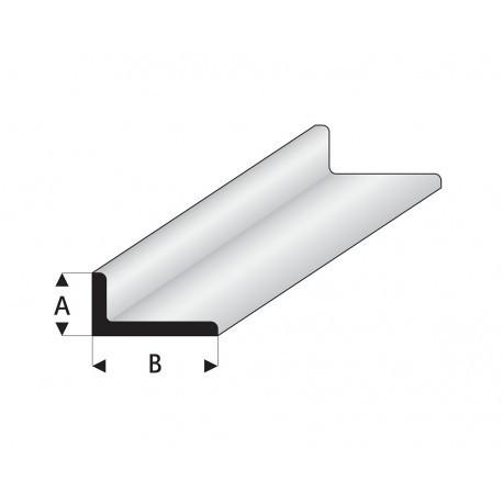 """Perfíl en """" L """" de Estireno Blanco, A: 3.5 mm, B: 7 mm, L: 330 mm. Marca Maquett. Ref: 417-55/3."""