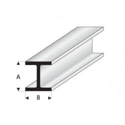 """Perfíl en """" H """" de Estireno Blanco, A: 4.5 mm, B: 4.5 mm, L: 330 mm. Marca Maquett. Ref: 415-57/3."""