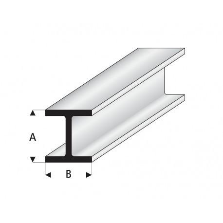 """Perfíl en """" H """" de Estireno Blanco, A: 5 mm, B: 5 mm, L: 330 mm. Marca Maquett. Ref: 415-58/3."""