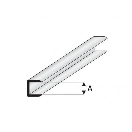 """Perfíl en """" U """" de Estireno Blanco, A: 1.5 mm,  L: 330 mm. Marca Maquett. Ref: 446-52/3."""