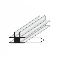 Perfil T-Conector de Estireno. A: 1  mm y L: 330 mm. Marca Maquet. Ref:  447-51/3.