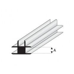 Perfil T-Conector de Estireno. A: 2  mm y L: 330 mm. Marca Maquet. Ref:  447-53/3.