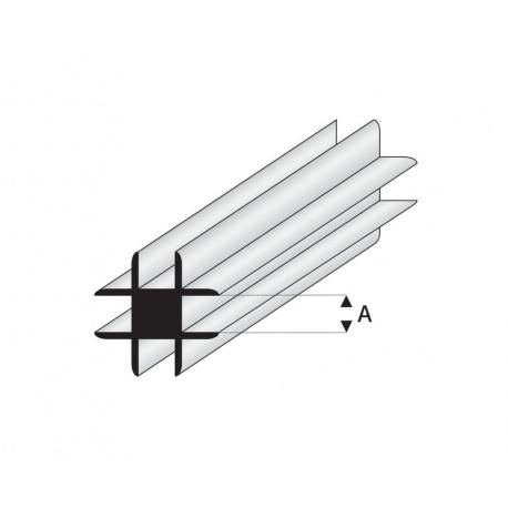 Perfil T-Conector Transversal de Estireno. A: 1  mm y L: 330 mm. Marca Maquet. Ref:  448-51/3.