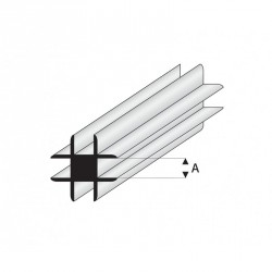 Perfil T-Conector Transversal de Estireno. A: 2 mm y L: 330 mm. Marca Maquet. Ref: 448-53/3.