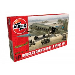 Set Douglas Dakota MkIII con Willys Jeep. Escala 1:72. Marca Airfix. Ref: A09008.