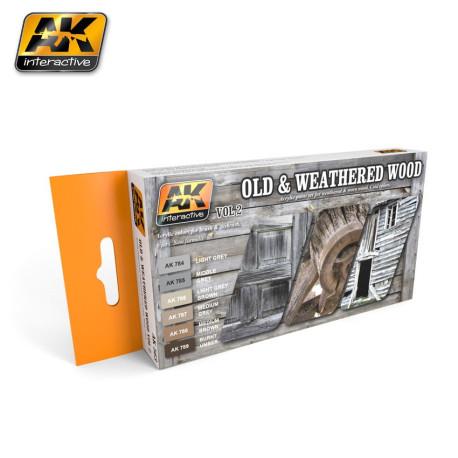 Set acrilicos para tonos de madera y madera vieja, Vol.2. Marca AK Interactive. Ref: AK563.