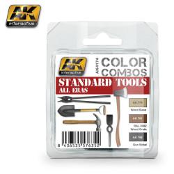 Set de pinturas standard de herramientas, color combos. Marca AK Interactive. Ref: AK4174.