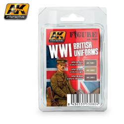 Set colores para uniforme  del ejército Británico WWI. Marca AK Interactive. Ref: AK3080.