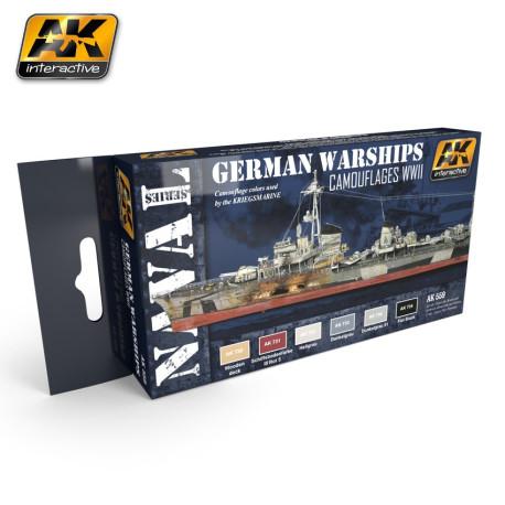 Set colores del Buque de guerra alemán WWII. Marca AK Interactive. Ref: AK559.