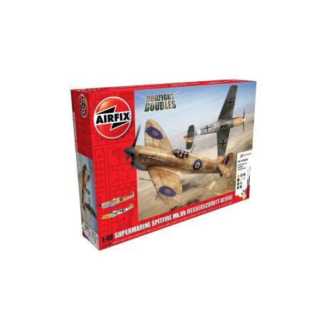 Caza Supermarine Spitfire Messerschmitt Mk.V. Escala 1:48. Marca Airfix. Ref: A50160.