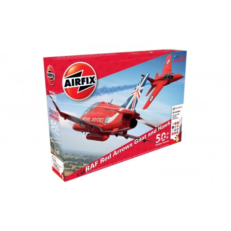 """Set Avión Acrobático HAWK """"RED ARROWS"""". 50ª temporada de visualización. Escala 1:48. Marca Airfix. Ref: A50159."""
