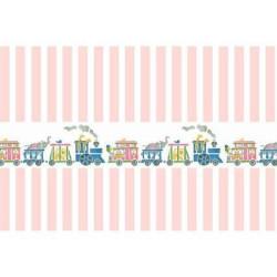 Papel Rayas rosa con cenefa tren. Marca Artesania Latina. Ref: 06121.