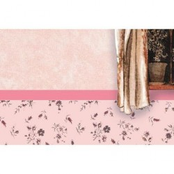 Papel Trampaojos, fondo rosa con ventanas. Marca Artesania Latina. Ref: 06152.