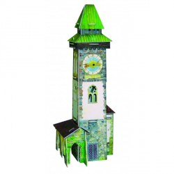Torre con reloj cuarzo. Puzzle 3D de Montaje. Serie Medieval. Marca Clever Paper. Ref: 14277.