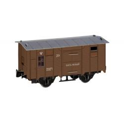 Vagón de equipajes, Color marrón, Para decoración, Puzzle de Cartón para montar, Escala H0, Marca Clever Paper, Ref: 14278.
