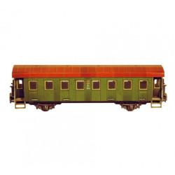 Coche pasajeros de dos ejes, Para decoración, Puzzle de Cartón para montar, Escala H0, Marca Clever Paper, Ref: 14287.