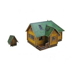 Casa Jardín. Puzzle 3D de Montaje. Serie de construcciones populares. Marca Clever Paper. Ref: 14281.