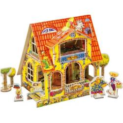Casa de muñecas Infantil. Puzzle 3D de Montaje. Serie de casas de muñecas. Marca Clever Paper. Ref: 14028.